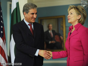 Pakistani Foreign Minister Makhdoom Shah Mehmood Qureshi meets U.S. Secretary of State Hillary Clinton.