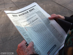 The Rocky Mountain News in Denver, Colorado, published its last edition Friday after 150 years.