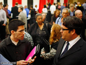 The Miami Dade College Mega Job Fair 2009 is held March 4 in North Miami, Florida.