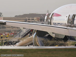 The engines on this British Airways jet lost power as it prepared to land in London on January 17, 2008.
