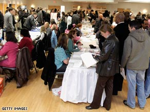 Many job fairs in the United States have become jam-packed events, like this one in Wayne, Michigan.