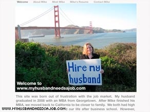 Robin Stearns created a Web site to draw employers' attention to her jobless husband, Michael.