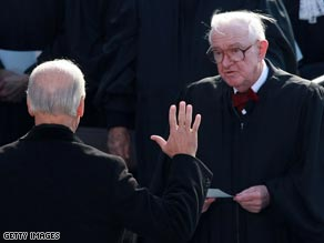 Justice John Paul Stevens swears in Vice President Joe Biden. Stevens has been on the court for 34 years.