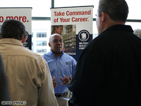 Military veterans attend the Recruit Military Career Fair  on March 19 in San Francisco, California.