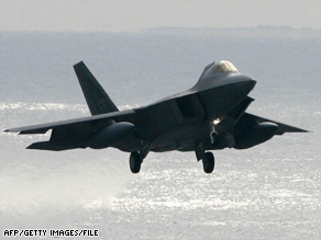 An F-22A fighter jet similar to this one crashed Wednesday during a test mission in California.