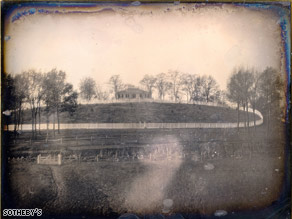 The daguerreotype shows a New York country estate on a road referred to as a continuation of Broadway.