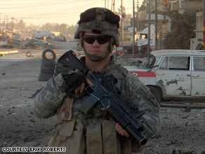 Army Sgt. Erik Roberts was badly wounded in Iraq with two comrades in April 2006.