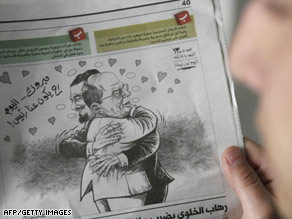 A Lebanese newspaper ran a caricature last year of two opposition leaders hugging in light of April Fools' Day.