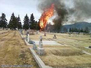 A witness in Butte, Montana, took this photo shortly after the plane crash on March 22.