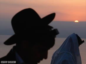 Jews in Tiberias, Israel, participate in the Blessing of the Sun at sunrise Wednesday.