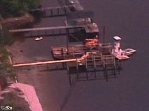 CNN affiliate WJXT shows the scene of the deadly boating accident near Jacksonville, Florida, on Sunday.