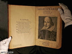 William Shakespeare is being honored in Chicago and on the Web on the 445th anniversary of his birth.