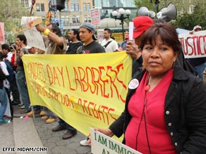 New Yorker's support the rights of undocumented workers on Friday at a May Day rally.