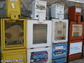 Some coin-operated newspaper machines have lasted for 30 years, but lack of sales may force their retirement.