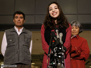 Saberi is shown May 12 outside her home in Tehran, Iran, after her release.