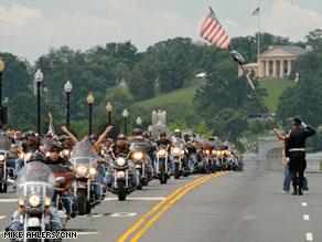 Members of Rolling Thunder ride into Washington on Sunday.