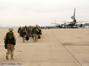 Troops from Fort Campbell, Kentucky, depart for the Persian Gulf in 2003.