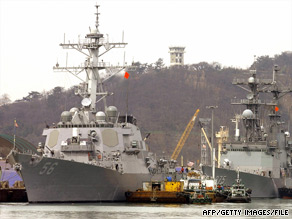 The USS John S. McCain, left, anchored at the port of Incheon 40 km west of Seoul, Korea in March 2004.