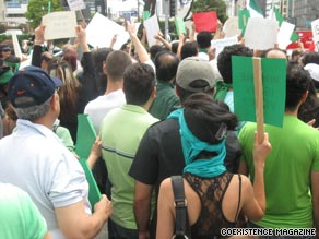 Most of the protestors in Los Angeles, California were supporting Mir Hossein Moussavi.