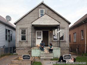 Detroit artist Jon Brumit's $100 home last winter before any repairs.