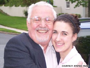 Atefeh Yazdi visits with her grandfather, Dr. Ebrahim Yazdi, during his trip to America last year.