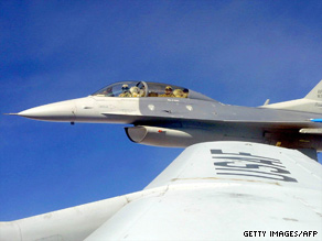 An F-16 from Hill Air Force Base trains in Utah in 2001.