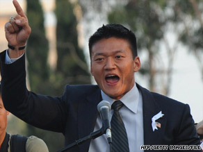 First Lt. Dan Choi, shown at a gay protest rally in May in California, disclosed in March that he was gay.