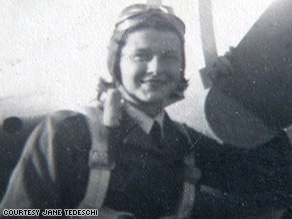 Women Airforce Service Pilot Elizabeth L. Gardner prepares for takeoff at a Texas airfield.