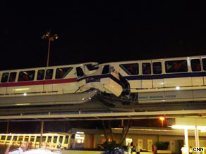 A 2 a.m. ET monorail crash at Disney World killed one person, a park spokesman said.