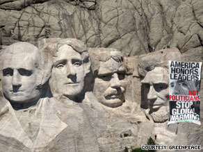 Greenpeace says it does not think its 2,275-square-foot sign will damage Mount Rushmore's structure.