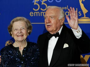 Walter Cronkite with wife Betsy in 2003. They were married from 1940 until her death in 2005.
