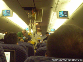 One passenger told WSVN that some people hit the plane's ceiling and broke the plastic with their heads.