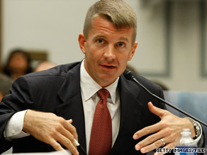 Blackwater founder Erik Prince, shown here before a congressional panel in 2007, recently left the company.