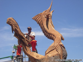 Miller carved a 25-foot-high eagle, dedicated to one of the original Tuskegee Airmen, at Pass Christian.