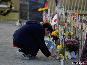 Family members take part in a memorial service for Flight 93 on September 11, 2008, in Shanksville, Pennsylvania.