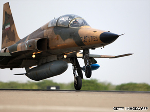 An Iranian F-5 fighter jet lands in southern Iran during a military exercise on June 23, 2009.