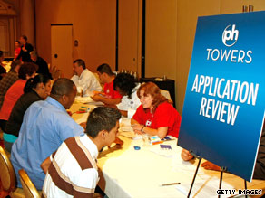 Job fairs and tables full of applicants have become a familiar sight during the U.S. recession.
