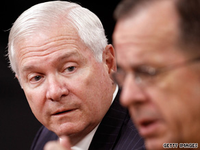 Defense Secretary Robert Gates, left, and Joint Chiefs Chairman Mike Mullen speak Thursday at the Pentagon.