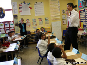 Education Secretary Arne Duncan visits Paul Revere Elementary in San Francisco, California, on May 22.