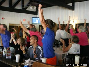 All eyes were riveted Monday on TV screens at the Racquet Club of the South, where Oudin trains.