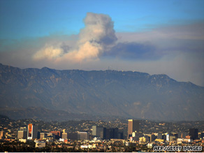 Smoke from the Station fire could be seen over Hollywood, California, on Saturday.