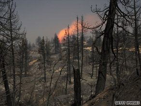 The Station fire continues to spread in California, leaving charred trees in its wake.