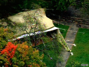 The tent is on property that Libyan leader Moammar Gadhafi is renting in New York, WABC reported.