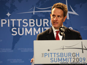 U.S. Treasury Secretary Timothy Geithner says signs of optimism for a global economic recovery can be seen.