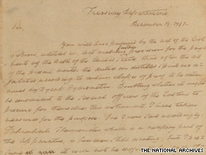 This document, signed by Alexander Hamilton, discusses tools for customs agents to determine alcohol content for imported spirits.
