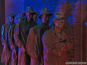 This sculpture at the FDR Memorial in Washington depicts men waiting in a Great Depression bread line.
