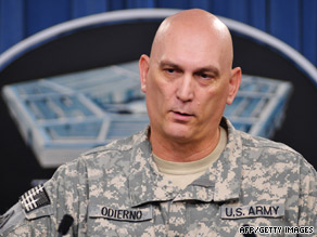 Army Gen. Ray Odierno speaks to reporters at the Pentagon  on Thursday.