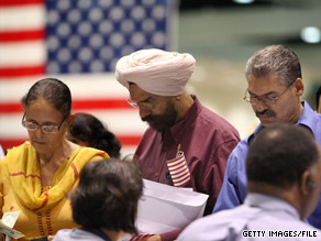 The number of naturalized citizens in the U.S. increased, partly attributed to voter drives for the 2008 election.