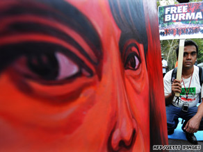 Protesters demand release of Aung San Suu Kyi in front of the United Nations in New York on Wednesday.