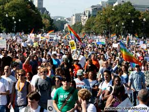 Sunday's National Equality March in Washington coincided with National Coming Out Day.